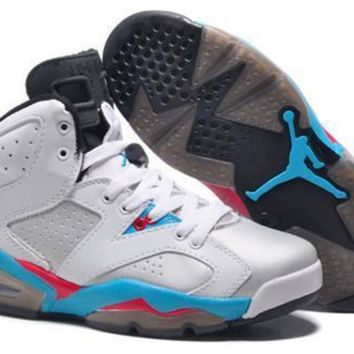 Hot Nike Air Jordan 6 Retro Women Shoes White Black Blue