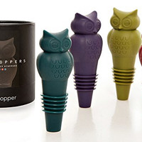 Owltoppers The Tops in Wine - Champagne and Beverage Bottle Stoppers - 2 Sizes - Set of 4 - Exceptional Wine Gift - Stunning Packaging