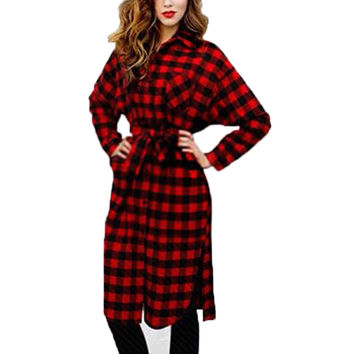 Women Boyfriend Style Long Sleeve Lapel Collar Dress Grid Plaid Check Flannel Shirt Dress Loose Long Blouses Knee Length Vestido