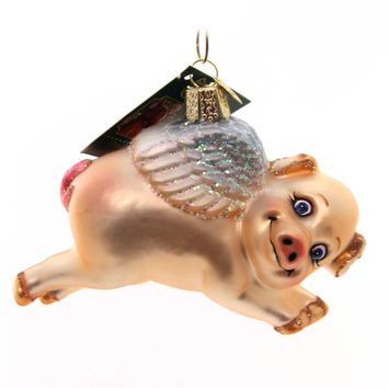 Old World Christmas Flying Pig Glass Ornament