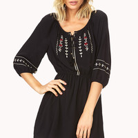 Peasant-Style Embroidered Dress
