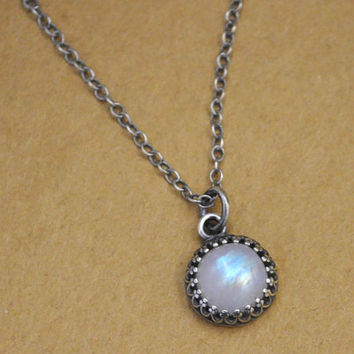 sterling silver moonstone necklace, ONCE UNDER The MOONLIGHT, natural moonstone gemstone