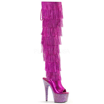 Fuchsia Thigh High Rhinestone Encrusted Stripper Boots