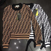 FENDI Autumn Winter Trending Women Stylish Long Sleeve Round Collar Top Sweater Pullover Sweatshirt