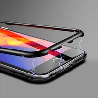 USLION Plastic Magnetic Side Case For iPhone XS MAX XR X 7 8 6 6S Plus Back Cover 360 Degrees Full Protection Phone Cases Capa