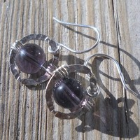 925 Sterling Silver Hammered Link Amethyst Dangle Earrings | pavlos - Jewelry on ArtFire