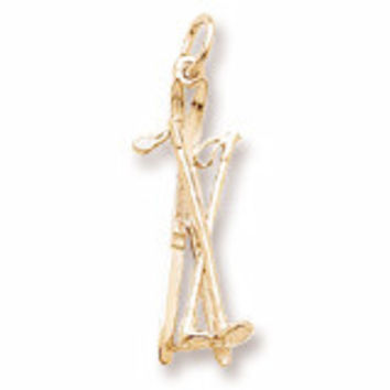 14kt Gold Cross Country Skis Charm #7930