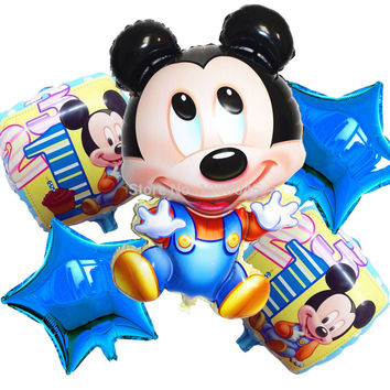 5 pcs lots New Arrival Mickey Mouse Happy Birthday Balloon Decoration Cartoon Party Foil Balloon 1 Year Birthday Bolsas Mickey
