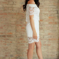 Domenika Lace Romper - white
