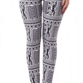 Black and white tribal leggings size XL
