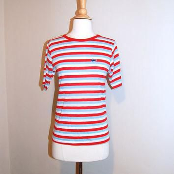 Vintage Lacoste Shirt Red White and Blue Striped Soft Tee Shirt Unisex size Medium