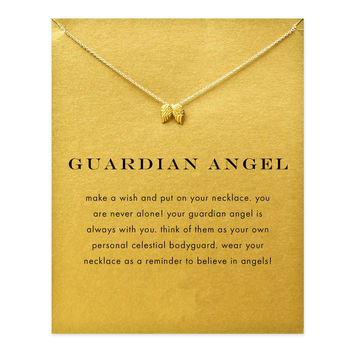 Hot Sale guardian angel, angel wings necklace gold plated Pendant necklace Clavicle Chains Statement Necklace Women Jewelry