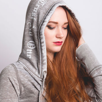 Women's Fleece Zip Up Hooded Sweatshirt - Vintage Grey
