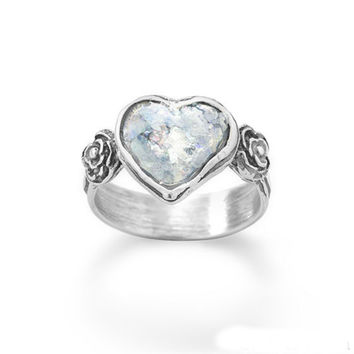 Roman Glass Heart Silver Ring