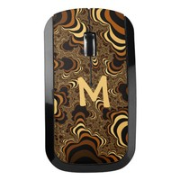 Cool brown stripped fractal. Monogram. Wireless Mouse