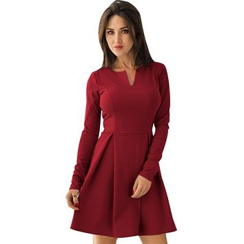 Red Long Sleeve V Neck Pleated Skater Dress