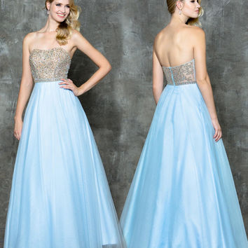 GLOW G721 Gold Beaded Bust Baby Blue Mesh Prom Evening Dress