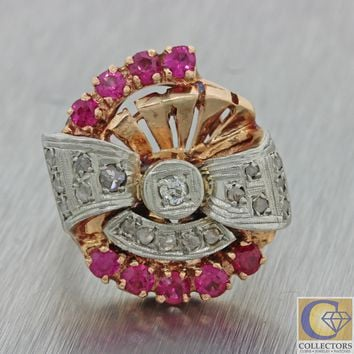1930s Antique Art Deco 14k Solid Rose Gold 4.00ct Ruby Diamond Cocktail Ring