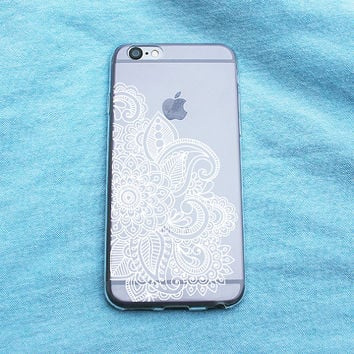 White Henna Print Clear iPhone Case - iPhone 5/5S 6/6S 6 Plus