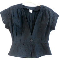 Blue or Black Eyelet Lace Blouse Top,  Retro V-neck Short Sleeve Top, Size Small