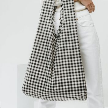 Big Black Gingham Market Bag - Black