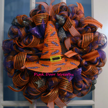 Made to Order - Wreath Door HALLOWEEN purple orange black WITCH HAT Bats ribbon mesh