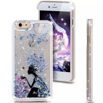 DCCKWQA Liquid Glitter Phone Case for Iphone 5 5S (Lady in Blue)