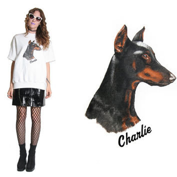 80s Dog Crewneck - Short Sleeve Sweat Shirt - Doberman Pincher - Dog Shirt - Vintage Crewneck - Charlie - Oversized - 80s Shirt - Crew Neck