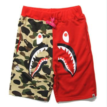Bape Aape New fashion shark tiger print camouflage couple splice shorts Red