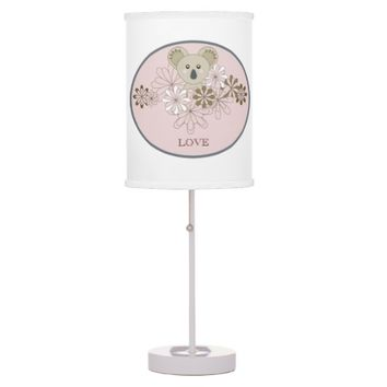 Personalized Cute Animal Table / Desk Lamps for Girl Bedrooms: Pink: Name Template: Gift Idea for Baby Girl Showers and Birthdays
