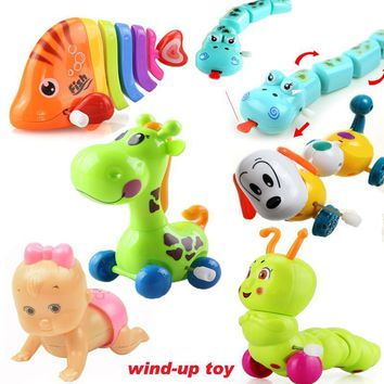 Cute kawaii doll Wind Up animal classic toy fish deer dog reborn BB Action figure baby kids toys juguetes small gift