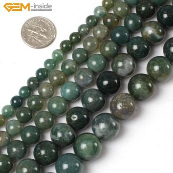 Gem-inside 2-14mm Natural Stone Beads Moss Agates Beads For Jewelry Making Beads 15inch DIY Beads Bracelets For Women Jewellery