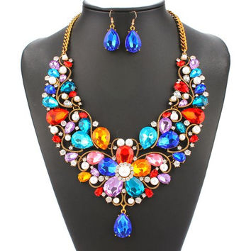 Multicolor Faux Pearl Blossom Necklace and Earrings