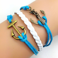 Vintage Style Double Anchor  Bracelet  Blue Rope and Whie leather Fashion Personalized Adjustable Bracelet 2121S