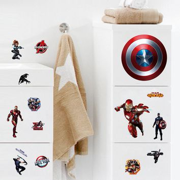 Cartoon Avengers Captain America Wall Stickers For Kids Rooms Marvel Super Hero Wall Decals Computer sticker Poster Boys Gift
