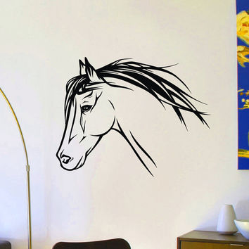 Animal Wall Decal Wild Animals Horse Head Wall Decals Murals Vinyl Stickers Living Room Bedroom Kids Nursery Room Wall Art Home Decor Z865