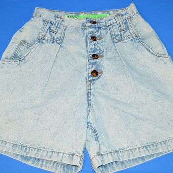 90s Jeanjer Jeans Acid Wash High Waist Women's Shorts 5/6
