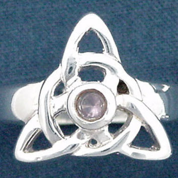 Wild Ivy Design | sterling silver triquetra/trinity ring with amethyst size 7 | Online Store Powered by Storenvy