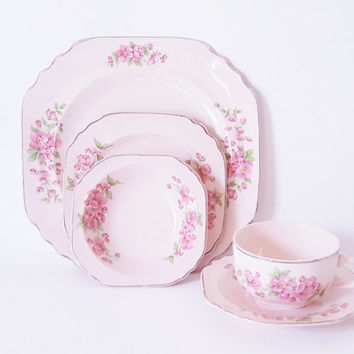 Vintage Pastel Floral Plates Bowl Pink Rose Bowls Plates Cottage Chic Dinnerware Vintage Floral China Dinnerware Set Mix Match Floral Plates