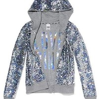 Victoria's Secret Pink Fashion Show Bling Sequins Silver Jacket Hoodie