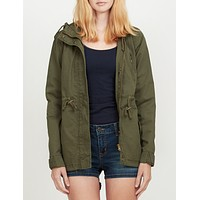 Anorak Jacket with Hood and Drawstring Waist