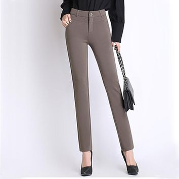 Spring Autumn  pants women office work High stretch cotton ladies pants Thicken female High Waist trousers