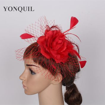 Free shipping high quality women feather fascinator hats good bridal wedding hats Very nice red white pink gold colors MSF122