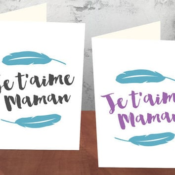 Printable Greeting Cards for Mother's Day - Je t'aime Maman (French for I Love You Mom) - Digital Download - Purple/Black included