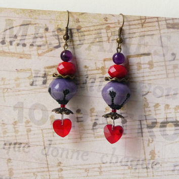 Beaded Earrings, Heart Earrings, Romantic Earrings, Boho Jewelry, Womens Gift, Agate, Swarovski Cristal, Ceramic Beads, Handmade