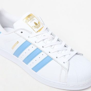 adidas Superstar Foundation White and Light Blue Shoes at PacSun.com