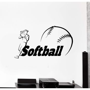 Wall Decal Softball Baseball Sport Girl Player Caption Game Vinyl Sticker (ed1167)