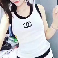 LMFON CHANEL' Fashion Casual Multicolor Letter Print Sleeveless Vest Women Tops
