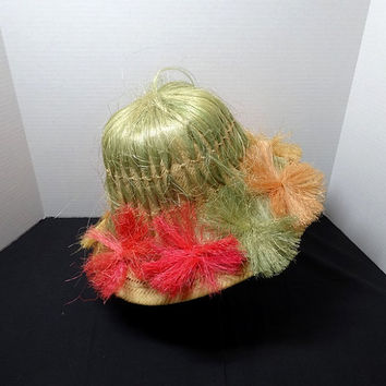 1970s Vintage Woven Straw Hat from Acapulco, Colorful Straw Flowers, Souvenir Straw Hat, Vintage Hat, Vintage Fashion Accessory, Millinery