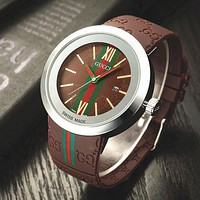 GUCCI Trending Ladies Men Fashion Print Quartz Watches Wrist Watch Coffee G